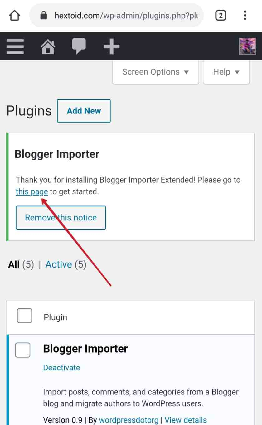 """Click on""""This Page"""" option to get started > Run Importer"""