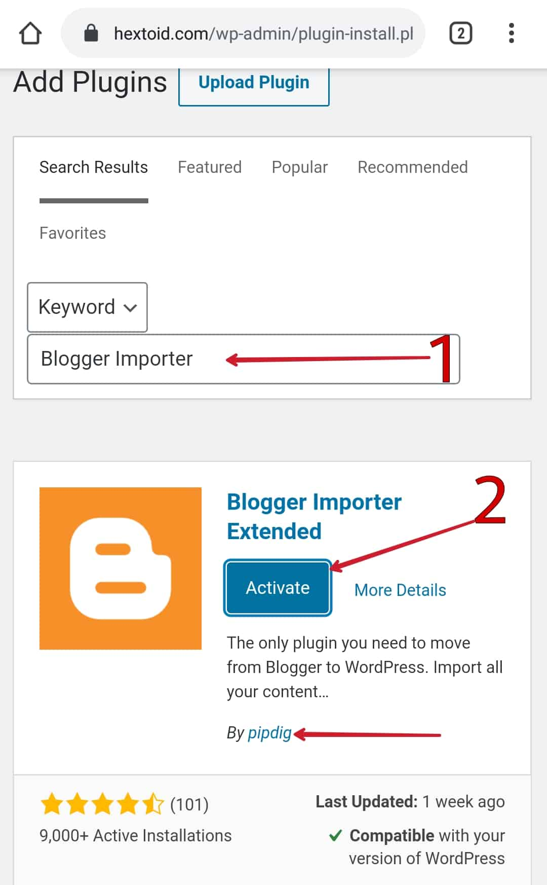 "Install & Activate ""Blogger Importer Extended"" by Pipdig"