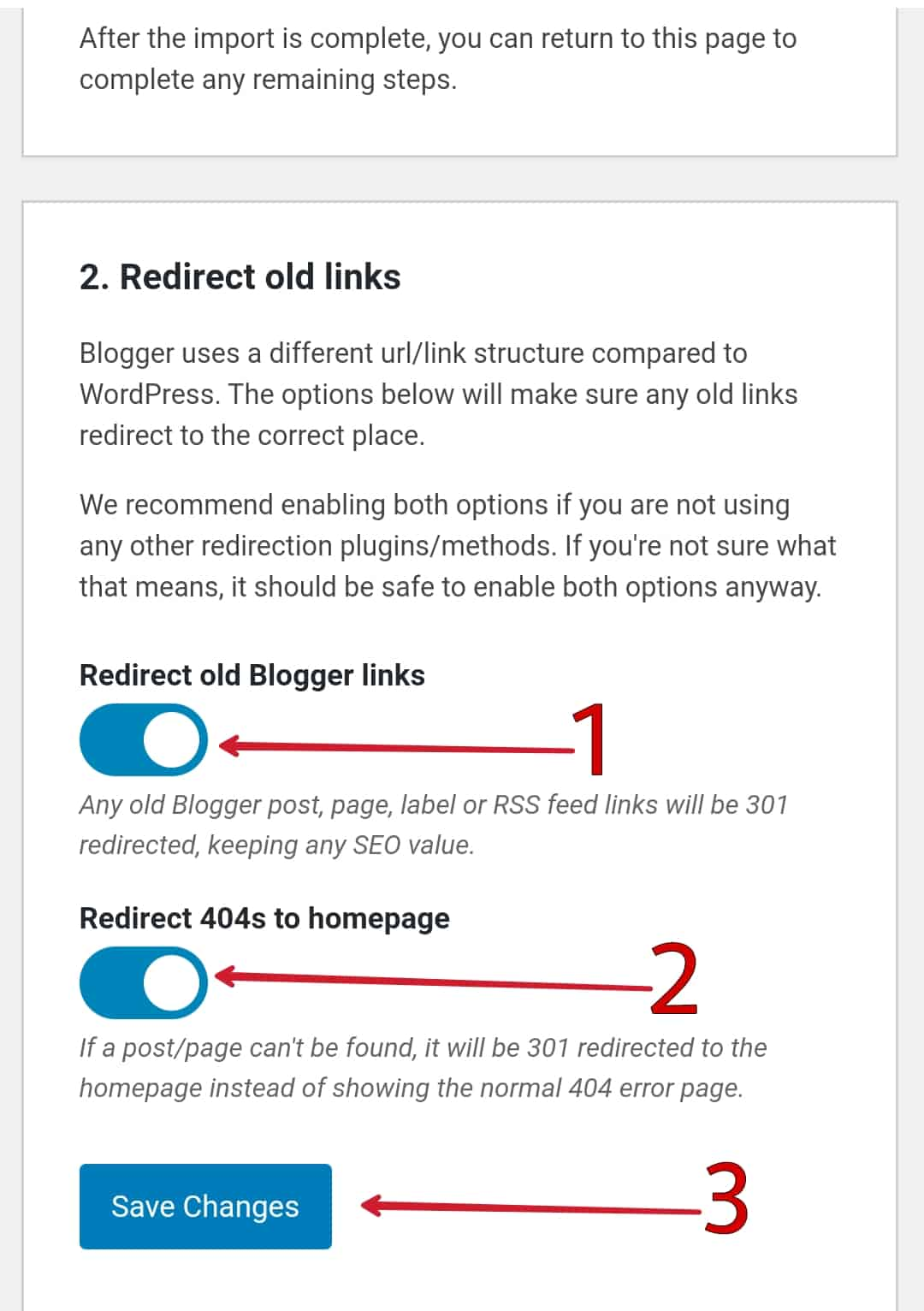 Enable Redirect old Blogger links & Redirect 404s to homepage