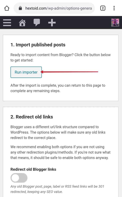 Run Blogger Importer Extended