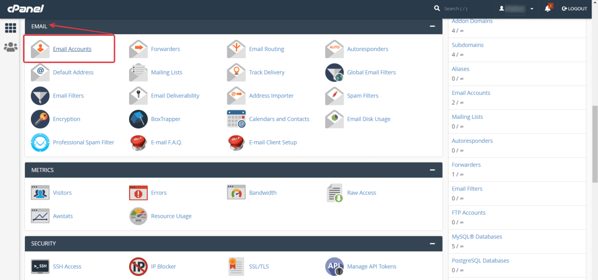 Go to cPanel > Email > Click Email Accounts