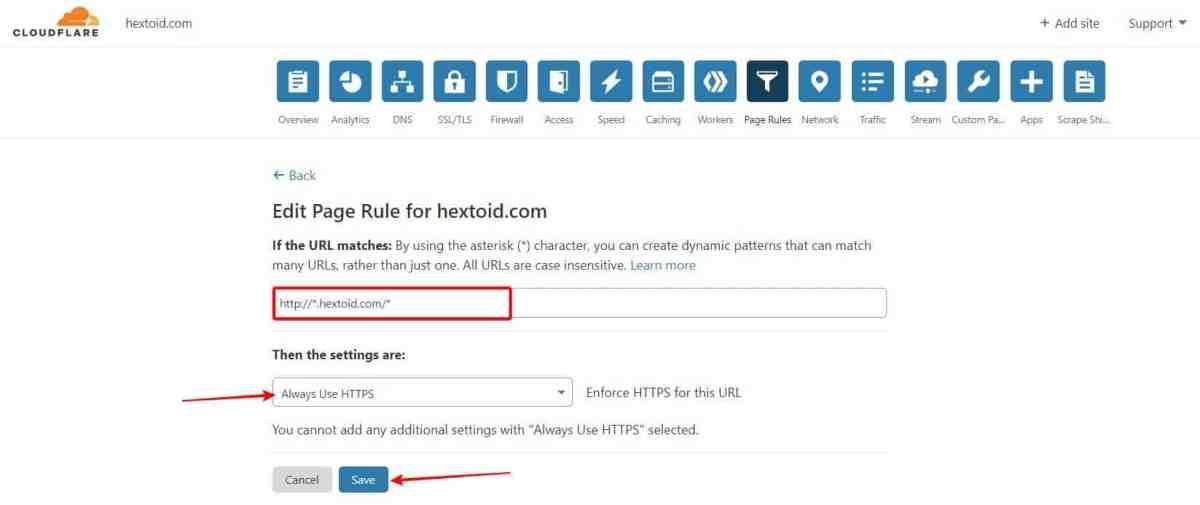 Enter Page Rule Choose HTTPS Save