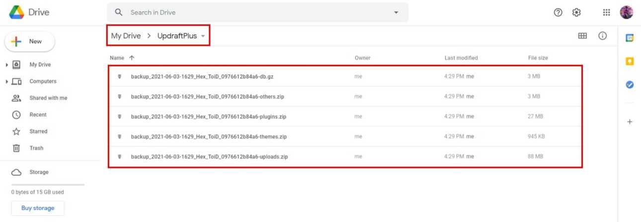 Backup Files In Google Drive