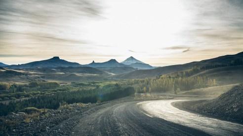 Le volcan Lanin est droit devant