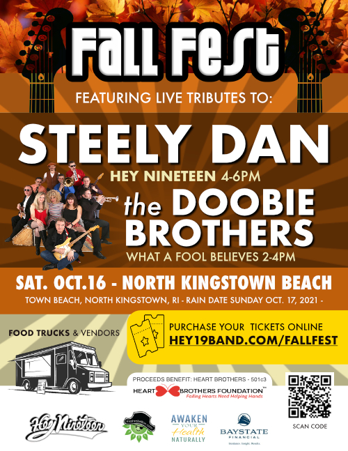 SAT. OCT. 16 - NORTH KINGSTOWN TOWN BEACH, NORTH KINGSTOWN, RI CLICK HERE FOR MORE INFO AND PURCHASE TICKETS: https://www.hey19band.com/fallfest