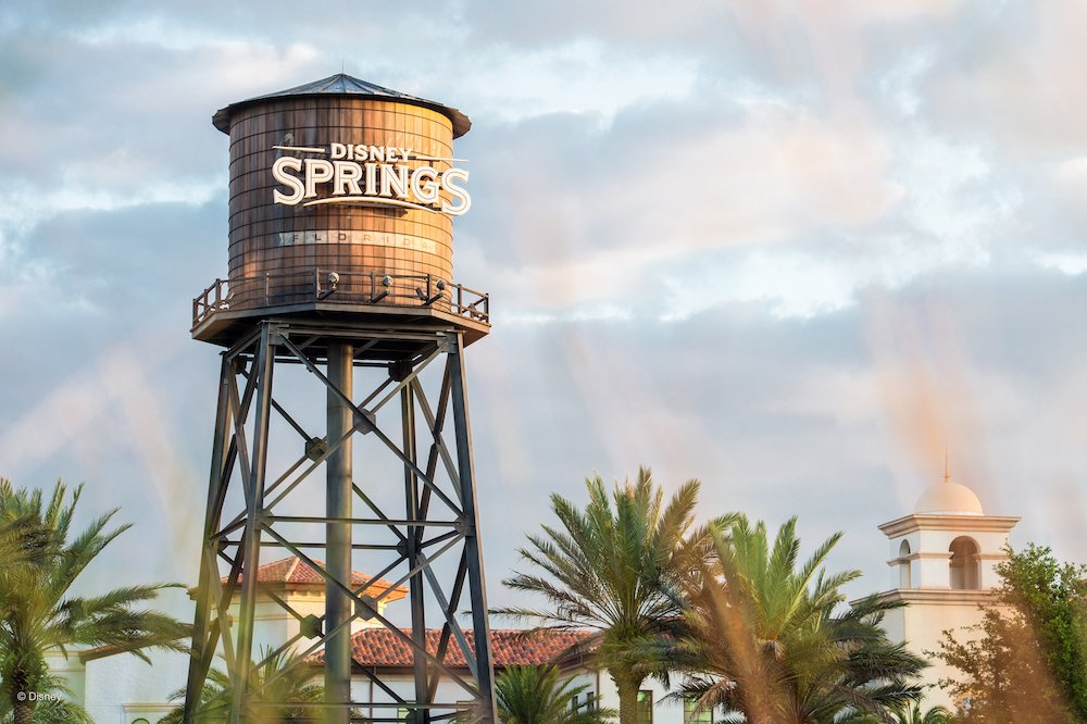 Rustic water tower with a sign reading Disney Springs