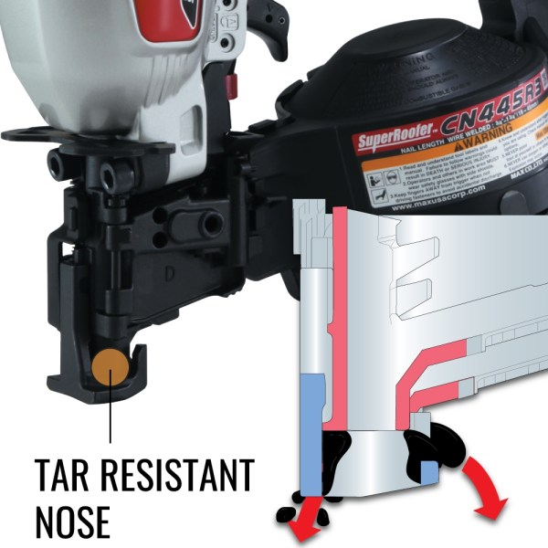 MAX CN445R3 roofing nailer with tar resistant nose