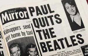 """Daily Mirror front page saying """"Paul Quits The Beatles"""" from More on the breakup at Hey Dullblog"""