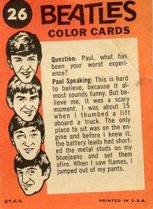 Backside of a coloured Beatle card