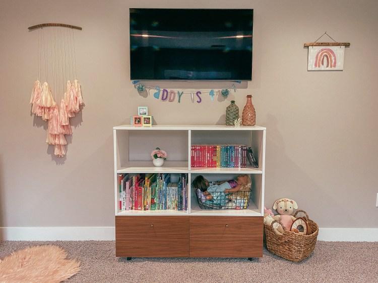 big girl bed bookshelf kids room inspo