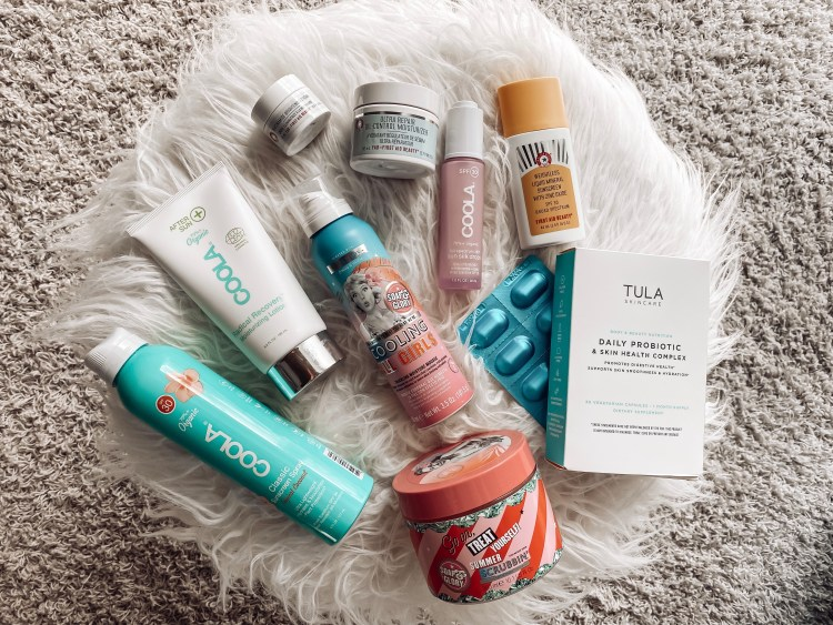 skincare essentials for a week at the beach coola tula