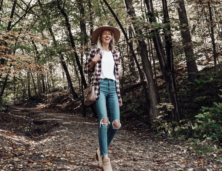 go-to fall outfit ootd abercrombie flannel