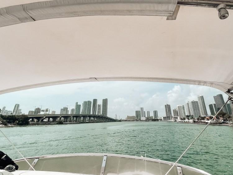 Miami from the intracoastal 55' azimut boat rental