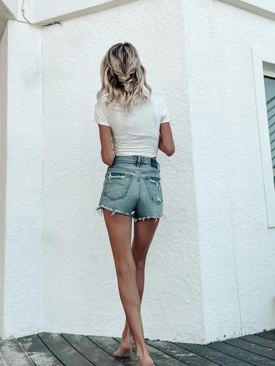 april best sellers high rise denim mom shorts
