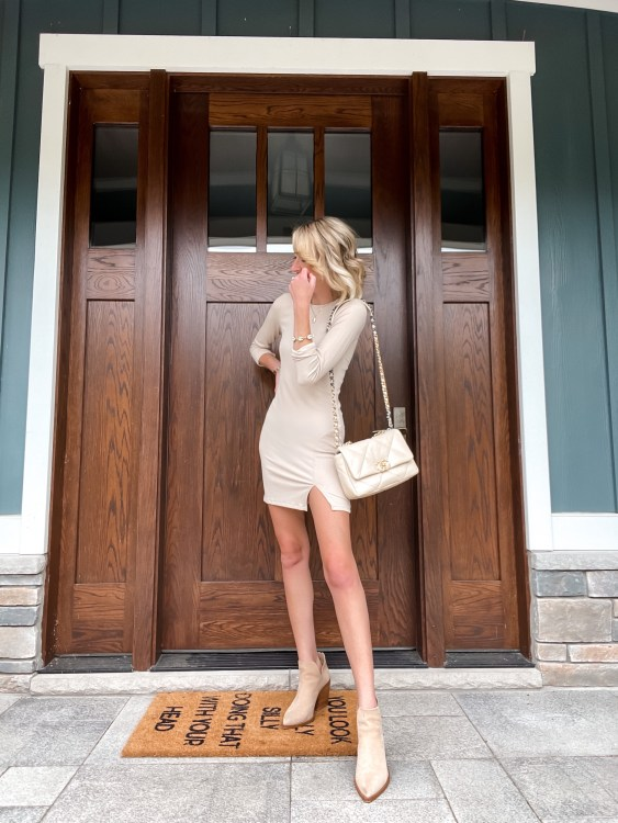 nordstrom sale dress #nsale ribbed long sleeve dress ankle booties