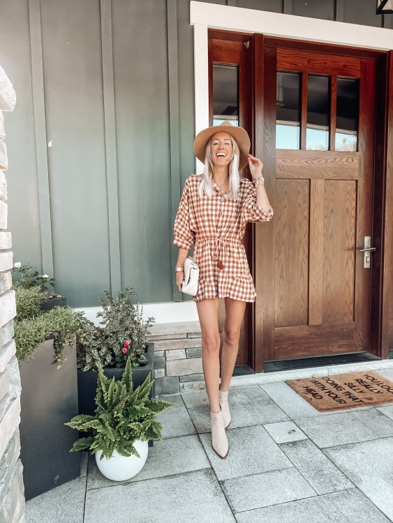 plaid romper fall outfit apricot lane discount code