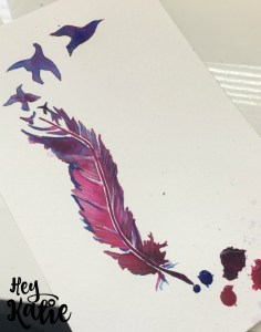 Quick feather sketch with Liquitex acrylic inks