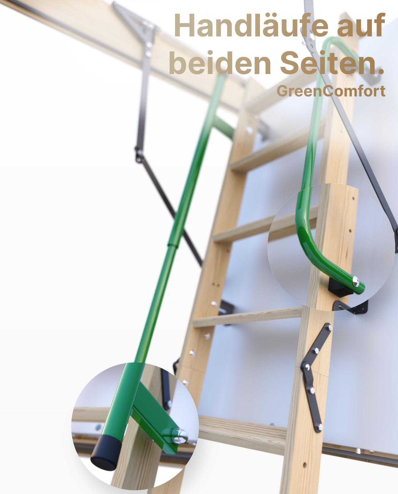 Bequeme Assistenz-Federmechanismus U-Wert 0,36 W//M2*K Ged/ämmte HEYKE W1 Bodentreppen mit Zwei Handl/äufe Spart Energiekosten M/öbelqualit/ät Luftdichtheitsklasse 4