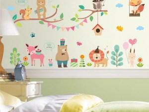 Sticker mural de qualité pour décorer la chambre de bébé - Thème : animaux en fête