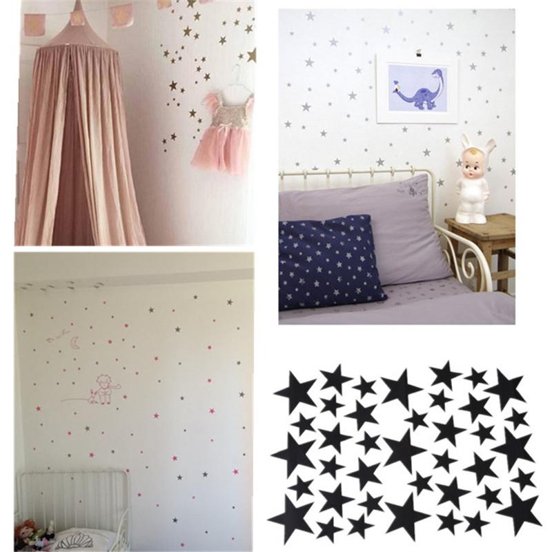 Stickers Muraux étoiles Chambre Bébé 39 Pièces Couleur Or