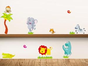 Stickers muraux animaux à coller sur les murs de la chambre de bébé fille ou garçon