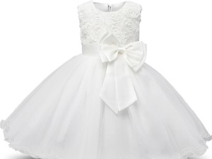 Robe fille enfant célébration - robe blanche de princesse avec nœud papillon