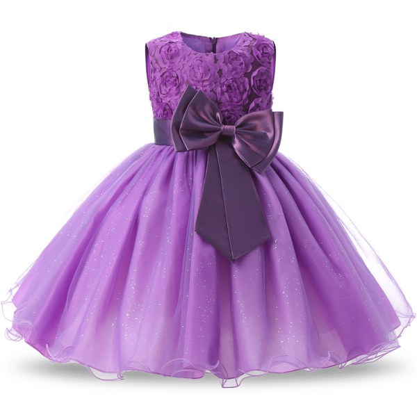 Robe fille enfant célébration - couleur violet - robe avec nœud papillon