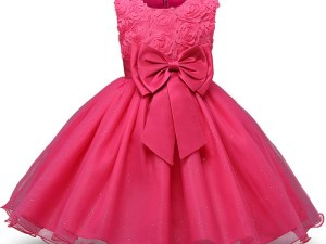 Robe fille enfant célébration - couleur rose - robe avec nœud papillon