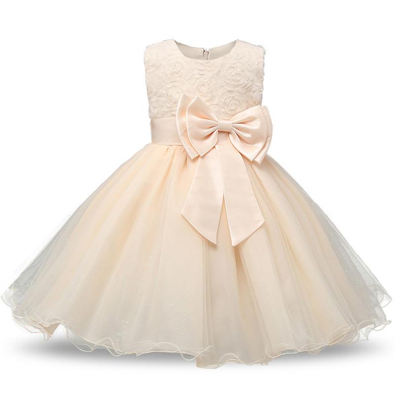 Robe fille enfant célébration - couleur écru - robe de princesse avec nœud papillon