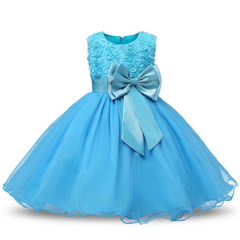 Robe fille enfant célébration - couleur bleu - robe princesse avec nœud papillon