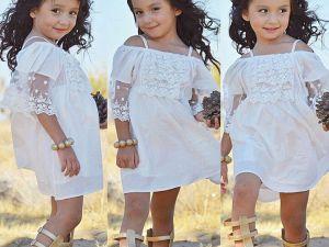 Superbe robe blanche, mi-longue, à bretelles, pour enfant fille