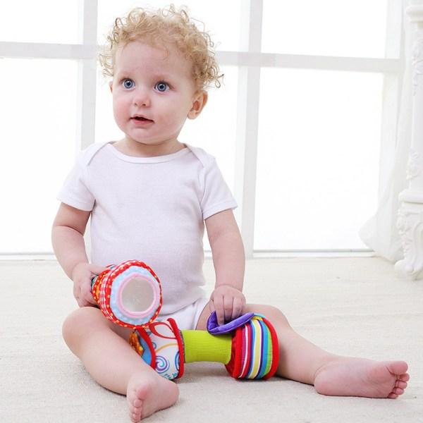 Haltères en peluche développement sensoriel bébé