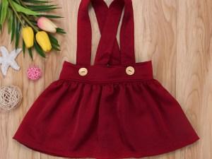 Jupe bretelles couleur bordeaux pour bébé fille