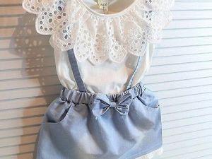 Robe d'été bleu et blanc NEVADA pour fille