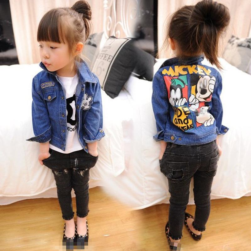 nouveau concept 1b68a 27c56 Veste jean denim enfant fille - Mickey et Dingo au dos