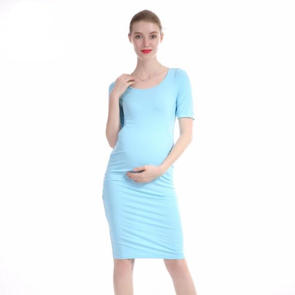 Robe slim femme enceinte couleur bleu ciel