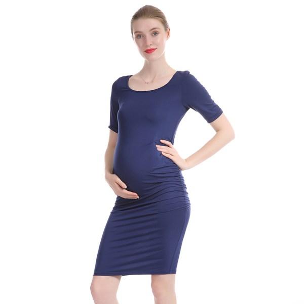 Robe grossesse bleu indigo - Robe slim, tencel et élasthanne