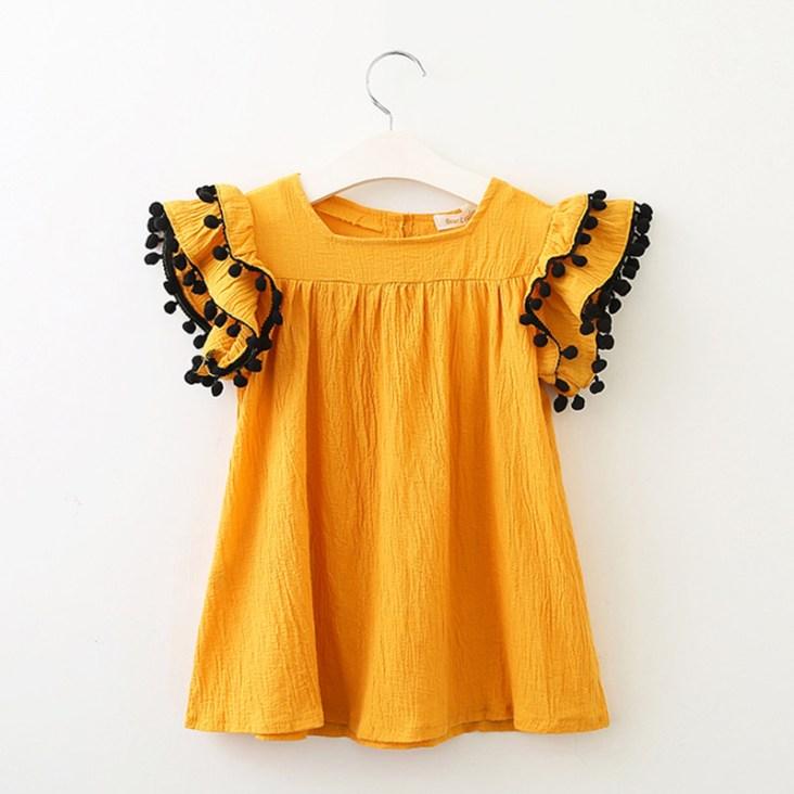 Robe été jaune manches courtes et mi-longue pour fille