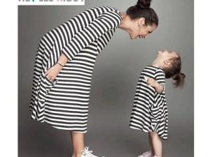 Robe large et souple femme enceinte rayures noir et blanc
