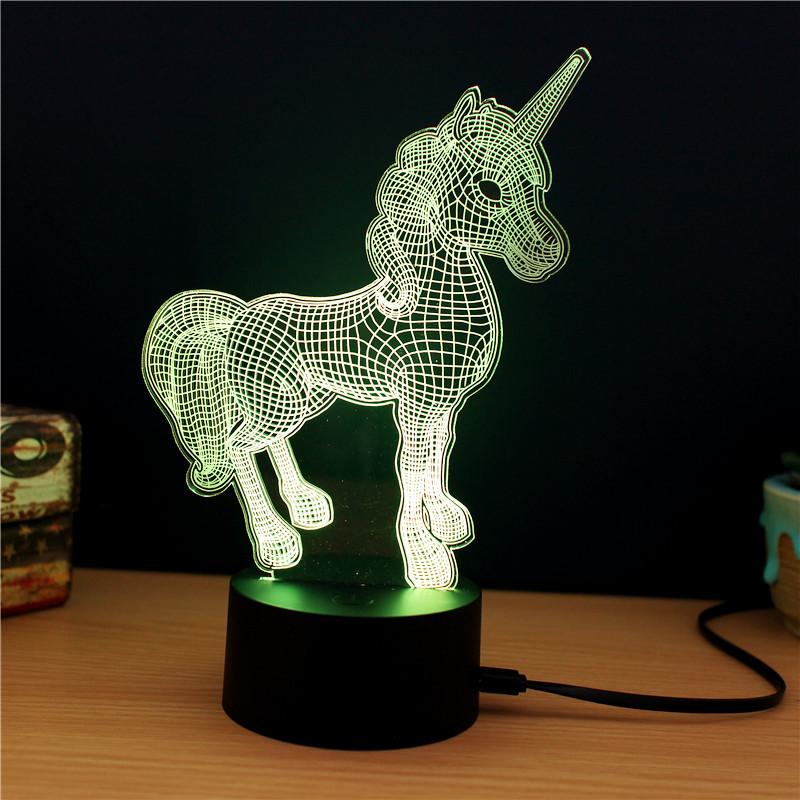 Lampe décorative licorne 3D lumière verte