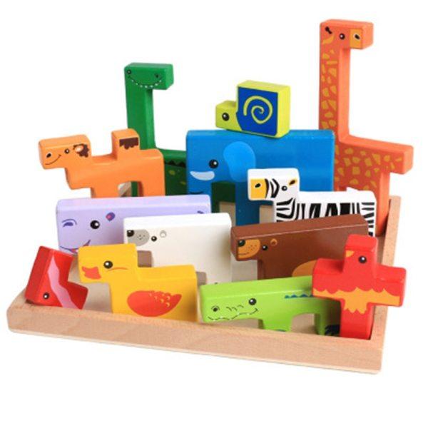 Animaux en bois - Jeu éducatifs blocs de construction