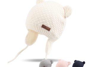 Bonnet bébé avec cache-oreilles pour se protéger du froid en hiver