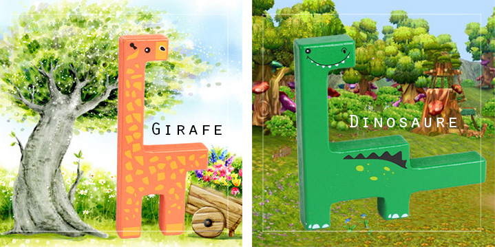 Girafe et dinosaure - Jouet en bois