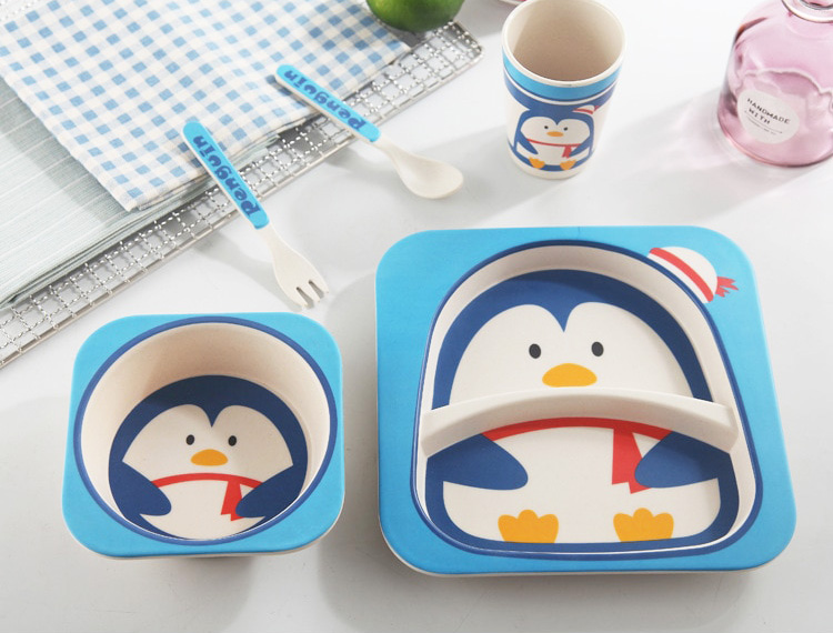 Vaisselle bébé bambou - Modèle pingouin