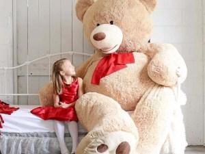 Ours peluche beige grande taille pour chambre enfant fille