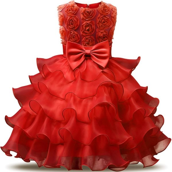 Robe rouge élégante pour fille, occasions mariages ou fiançailles et autres cérémonies