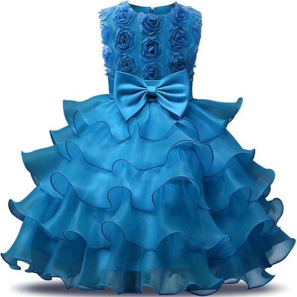 Robe élégante pour fille, occasions mariages ou fiançailles - Couleur bleu