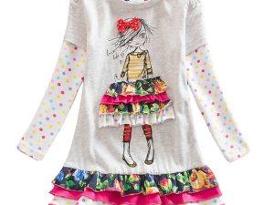 Robe pour fille 2 à 8 ans multicolore manches longues
