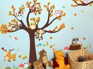 Sticker mural animaux dans la forêt - Sticker chambre enfant / bébé