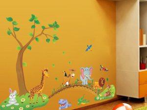 Sticker mural animaux à coller sur le mur de la chambre enfant / bébé
